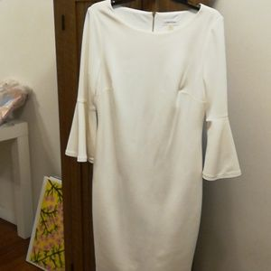 Cream colored Calvin Klein Dress with Bell Sleevrs